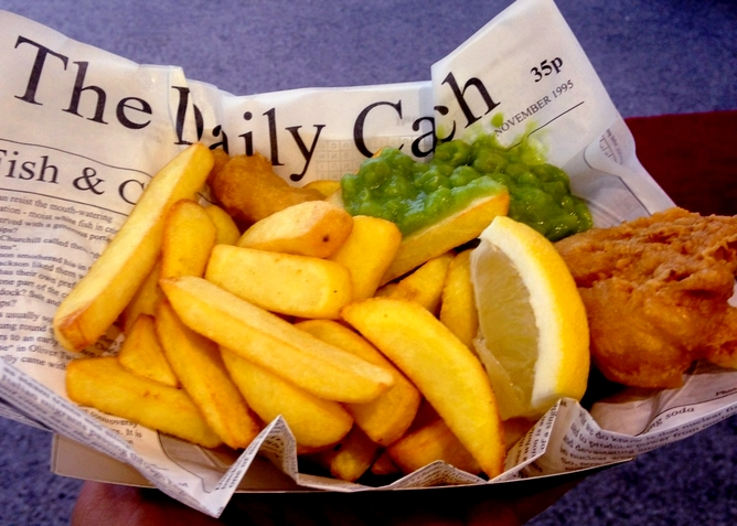 Fish and chips, mushy peas and lemon!