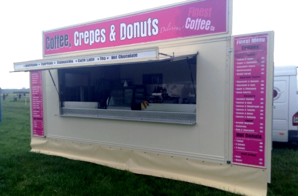 new crepe branding on our crepe coffee and donut kiosk