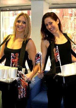 Promotional catering girls with food products