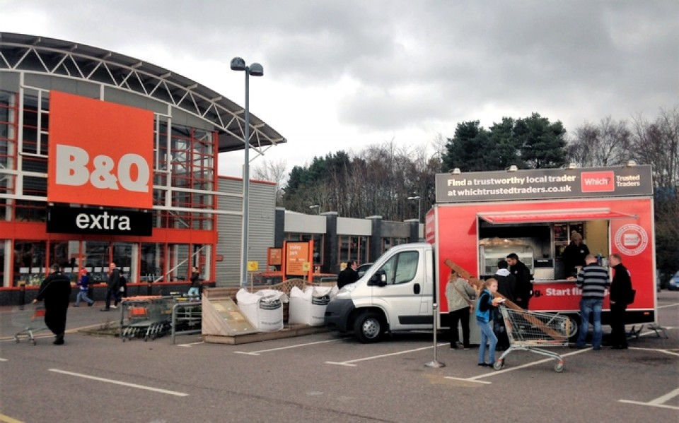 Promotional catering van serving B and Q branded food