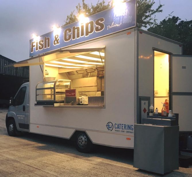 fish and chips van catering at night