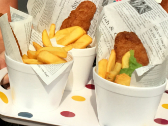 Mini fish and chip catering