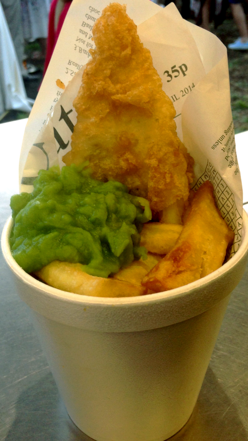 Mini fish and chips with mushy peas