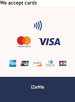 We take catering payments with iZettle